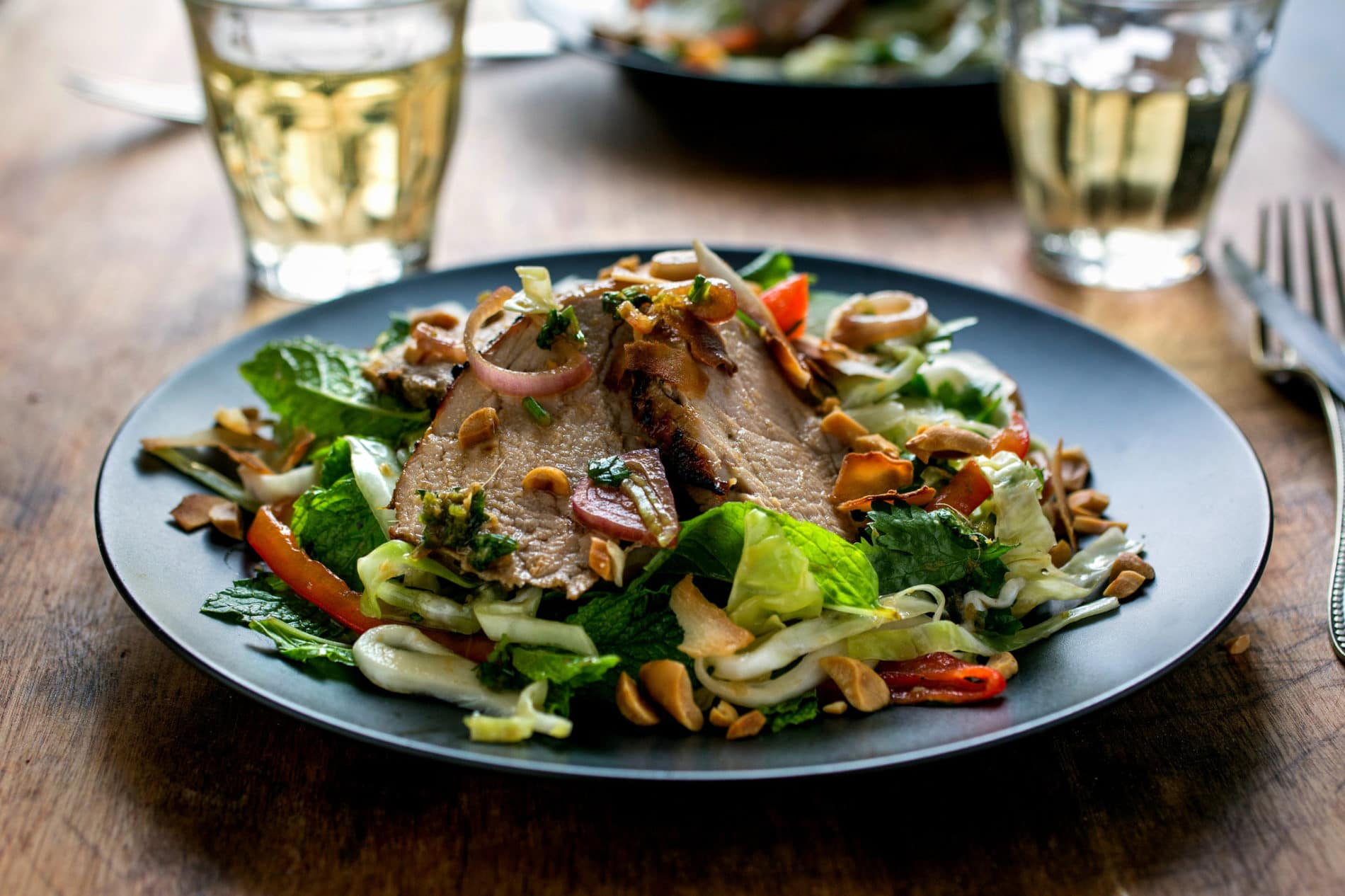 Ginger Caramel Pork Salad